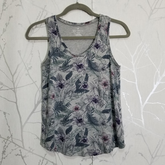 American Eagle Outfitters Tops - American Eagle Soft & Sexy Gray Floral Tank Top